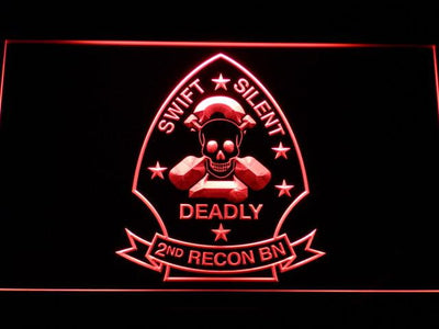 US Marine Corps 2nd Recon Battalion LED Neon Sign - Red - SafeSpecial