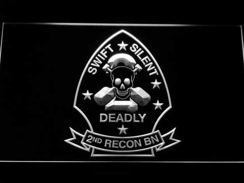 Image of US Marine Corps 2nd Recon Battalion LED Neon Sign - White - SafeSpecial