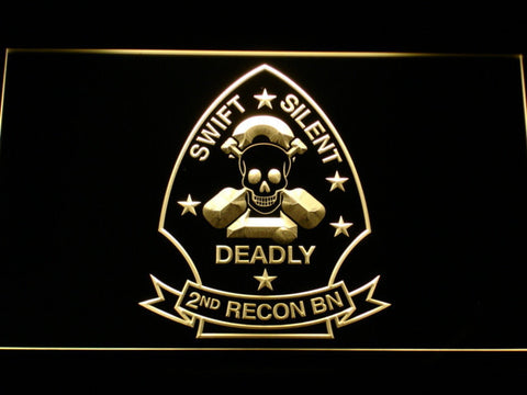 Image of US Marine Corps 2nd Recon Battalion LED Neon Sign - Yellow - SafeSpecial