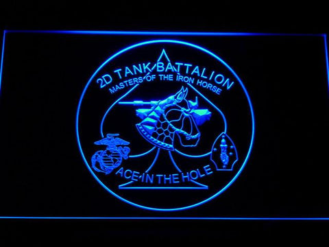 Image of US Marine Corps 2nd Tank Battalion LED Neon Sign - Blue - SafeSpecial