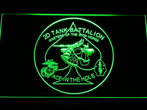 Image of US Marine Corps 2nd Tank Battalion LED Neon Sign - Green - SafeSpecial