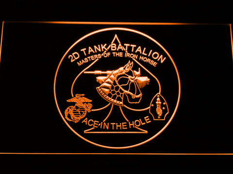 Image of US Marine Corps 2nd Tank Battalion LED Neon Sign - Orange - SafeSpecial