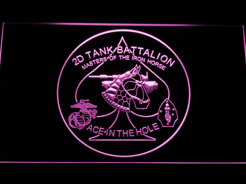 Image of US Marine Corps 2nd Tank Battalion LED Neon Sign - Purple - SafeSpecial