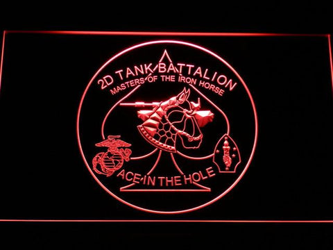 US Marine Corps 2nd Tank Battalion LED Neon Sign - Red - SafeSpecial