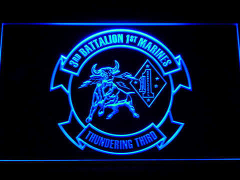 Image of US Marine Corps 3rd Battalion 1st Marines LED Neon Sign - Blue - SafeSpecial