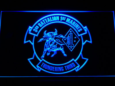 US Marine Corps 3rd Battalion 1st Marines LED Neon Sign - Blue - SafeSpecial