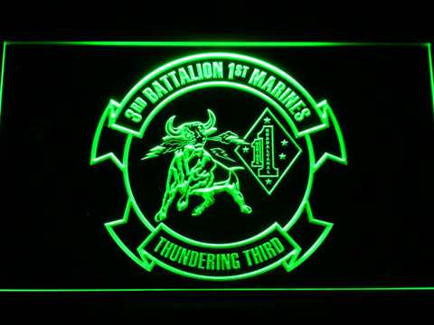 Image of US Marine Corps 3rd Battalion 1st Marines LED Neon Sign - Green - SafeSpecial