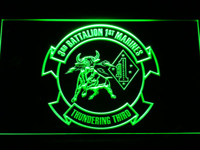 US Marine Corps 3rd Battalion 1st Marines LED Neon Sign - Green - SafeSpecial