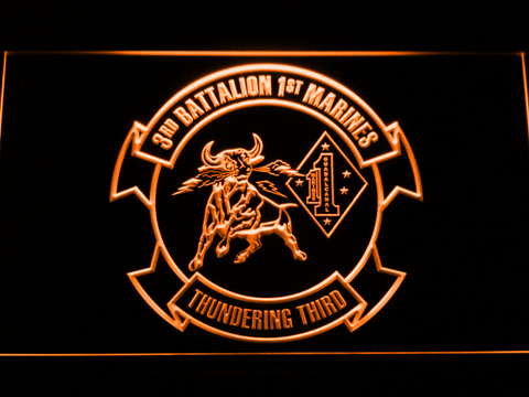 Image of US Marine Corps 3rd Battalion 1st Marines LED Neon Sign - Orange - SafeSpecial