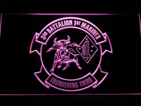 Image of US Marine Corps 3rd Battalion 1st Marines LED Neon Sign - Purple - SafeSpecial