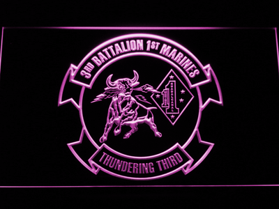 US Marine Corps 3rd Battalion 1st Marines LED Neon Sign - Purple - SafeSpecial