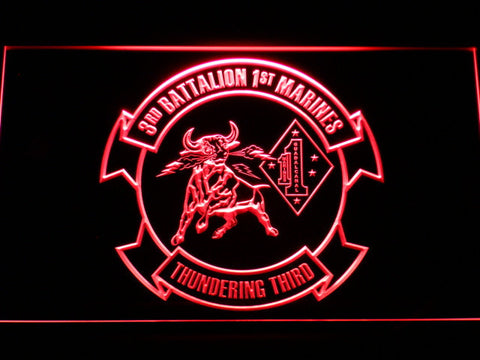 Image of US Marine Corps 3rd Battalion 1st Marines LED Neon Sign - Red - SafeSpecial