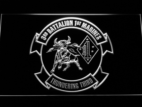 Image of US Marine Corps 3rd Battalion 1st Marines LED Neon Sign - White - SafeSpecial