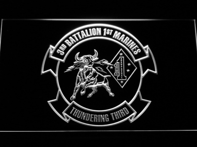 US Marine Corps 3rd Battalion 1st Marines LED Neon Sign - White - SafeSpecial