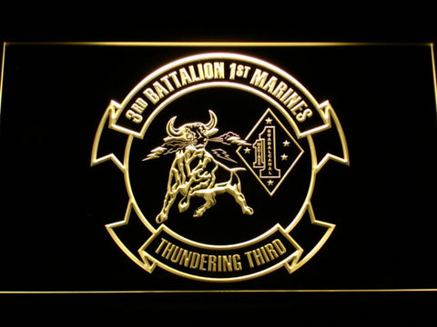 Image of US Marine Corps 3rd Battalion 1st Marines LED Neon Sign - Yellow - SafeSpecial