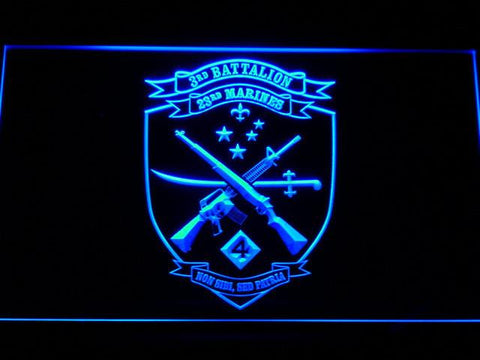 US Marine Corps 3rd Battalion 23rd Marines LED Neon Sign - Blue - SafeSpecial