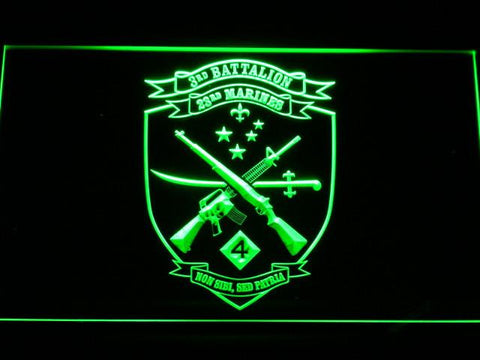 US Marine Corps 3rd Battalion 23rd Marines LED Neon Sign - Green - SafeSpecial