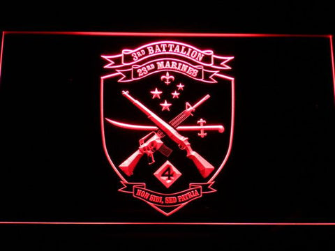 US Marine Corps 3rd Battalion 23rd Marines LED Neon Sign - Red - SafeSpecial