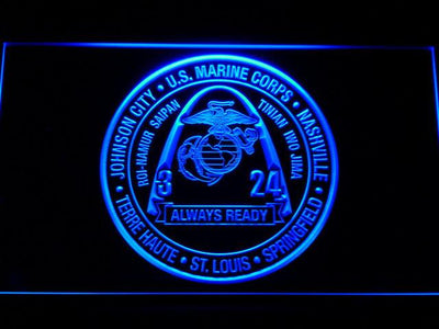 US Marine Corps 3rd Battalion 24th Marines LED Neon Sign - Blue - SafeSpecial
