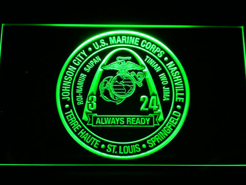 Image of US Marine Corps 3rd Battalion 24th Marines LED Neon Sign - Green - SafeSpecial