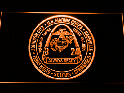 US Marine Corps 3rd Battalion 24th Marines LED Neon Sign - Orange - SafeSpecial