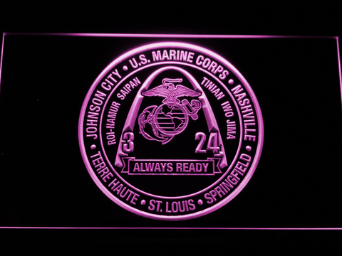 Image of US Marine Corps 3rd Battalion 24th Marines LED Neon Sign - Purple - SafeSpecial