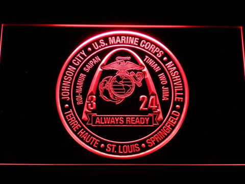 Image of US Marine Corps 3rd Battalion 24th Marines LED Neon Sign - Red - SafeSpecial