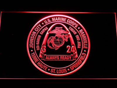 US Marine Corps 3rd Battalion 24th Marines LED Neon Sign - Red - SafeSpecial