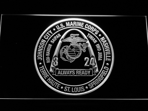 Image of US Marine Corps 3rd Battalion 24th Marines LED Neon Sign - White - SafeSpecial