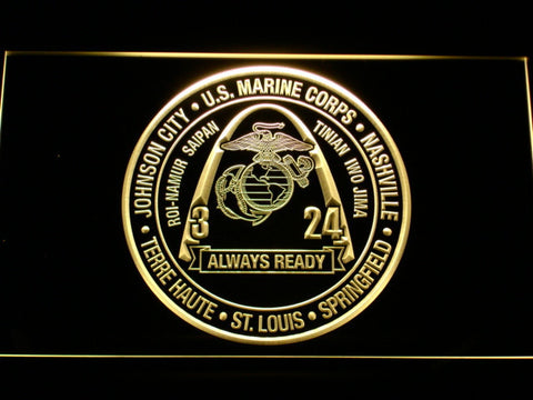 Image of US Marine Corps 3rd Battalion 24th Marines LED Neon Sign - Yellow - SafeSpecial