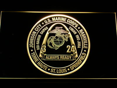 US Marine Corps 3rd Battalion 24th Marines LED Neon Sign - Yellow - SafeSpecial