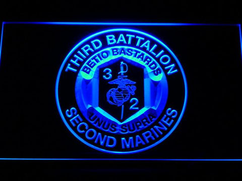 US Marine Corps 3rd Battalion 2nd Marines LED Neon Sign - Blue - SafeSpecial
