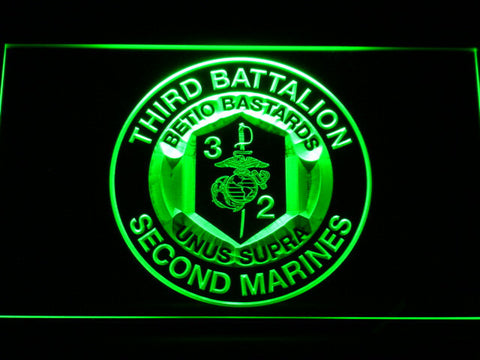 US Marine Corps 3rd Battalion 2nd Marines LED Neon Sign - Green - SafeSpecial
