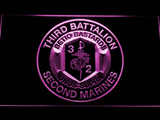 US Marine Corps 3rd Battalion 2nd Marines LED Neon Sign - Purple - SafeSpecial