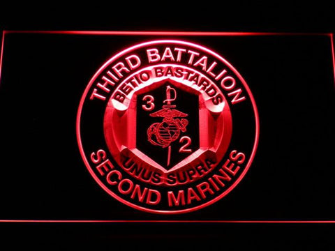 US Marine Corps 3rd Battalion 2nd Marines LED Neon Sign - Red - SafeSpecial