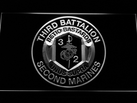 US Marine Corps 3rd Battalion 2nd Marines LED Neon Sign - White - SafeSpecial
