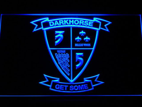Image of US Marine Corps 3rd Battalion 5th Marines LED Neon Sign - Blue - SafeSpecial