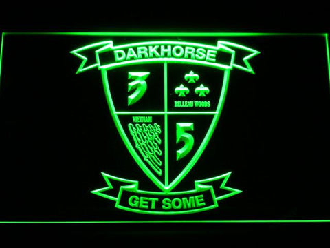 Image of US Marine Corps 3rd Battalion 5th Marines LED Neon Sign - Green - SafeSpecial