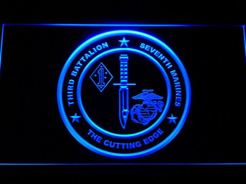 Image of US Marine Corps 3rd Battalion 7th Marines LED Neon Sign - Blue - SafeSpecial