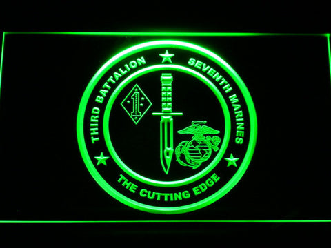 Image of US Marine Corps 3rd Battalion 7th Marines LED Neon Sign - Green - SafeSpecial