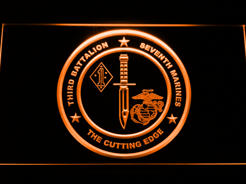 Image of US Marine Corps 3rd Battalion 7th Marines LED Neon Sign - Orange - SafeSpecial