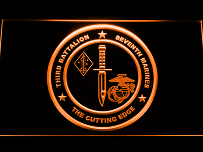 US Marine Corps 3rd Battalion 7th Marines LED Neon Sign - Orange - SafeSpecial
