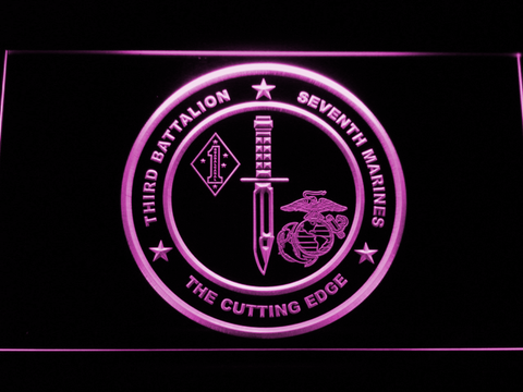 Image of US Marine Corps 3rd Battalion 7th Marines LED Neon Sign - Purple - SafeSpecial