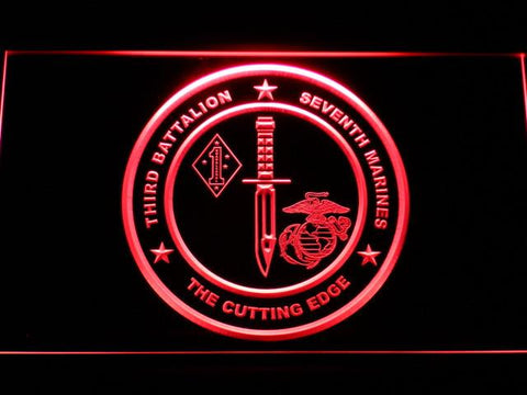 Image of US Marine Corps 3rd Battalion 7th Marines LED Neon Sign - Red - SafeSpecial