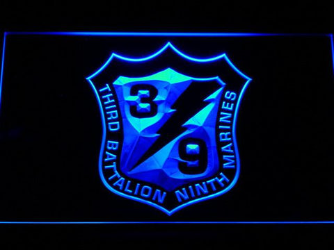 US Marine Corps 3rd Battalion 9th Marines LED Neon Sign - Blue - SafeSpecial