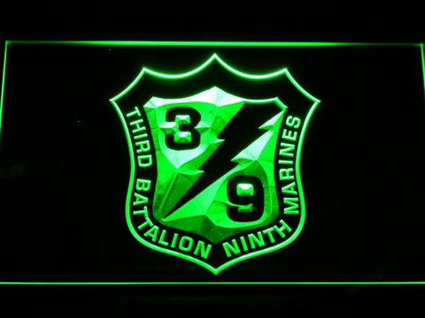 US Marine Corps 3rd Battalion 9th Marines LED Neon Sign - Green - SafeSpecial
