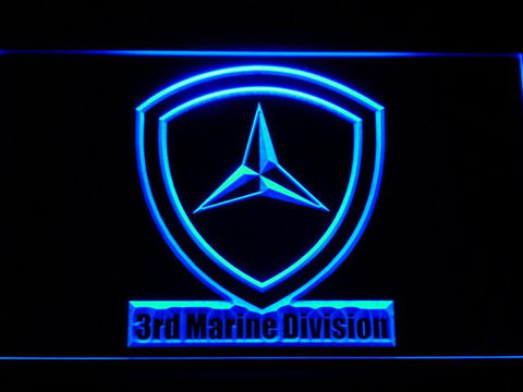 Image of US Marine Corps 3rd Marine Division LED Neon Sign - Blue - SafeSpecial