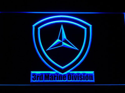 US Marine Corps 3rd Marine Division LED Neon Sign - Blue - SafeSpecial