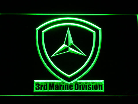 Image of US Marine Corps 3rd Marine Division LED Neon Sign - Green - SafeSpecial