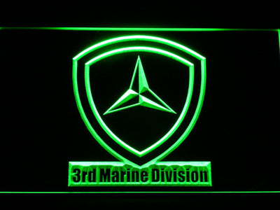 US Marine Corps 3rd Marine Division LED Neon Sign - Green - SafeSpecial